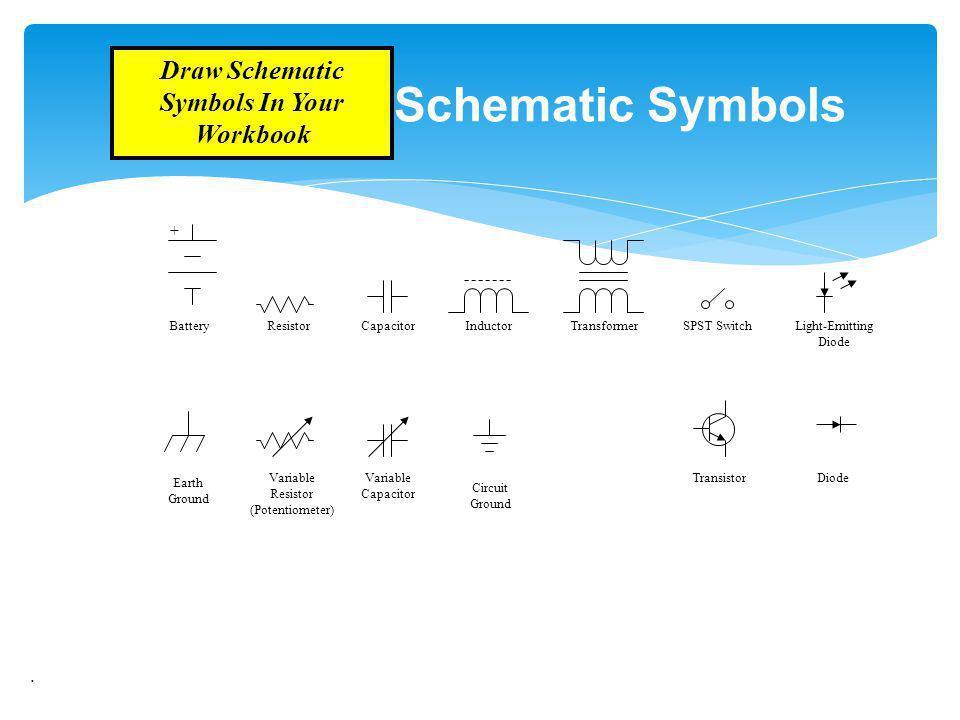 . Schematic Symbols + Resistor SPST SwitchLight-Emitting Diode BatteryCapacitorInductorTransformer DiodeTransistorVariable Capacitor Variable Resistor