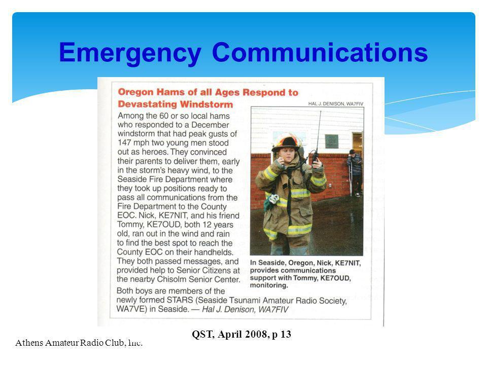Athens Amateur Radio Club, Inc. Emergency Communications QST, April 2008, p 13