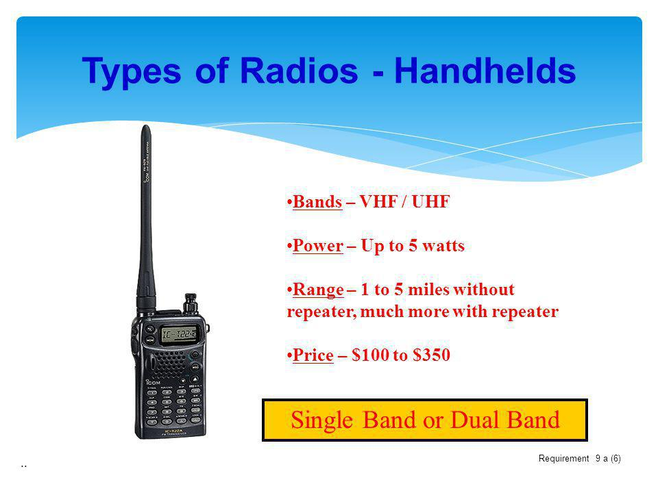 Types of Radios - Handhelds.. Single Band or Dual Band Bands – VHF / UHF Power – Up to 5 watts Range – 1 to 5 miles without repeater, much more with r