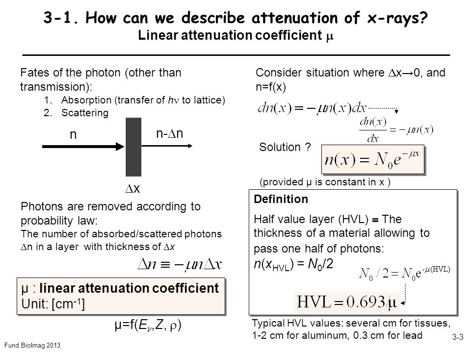 Fund BioImag 2013 3-3 3-1. How can we describe attenuation of x-rays.