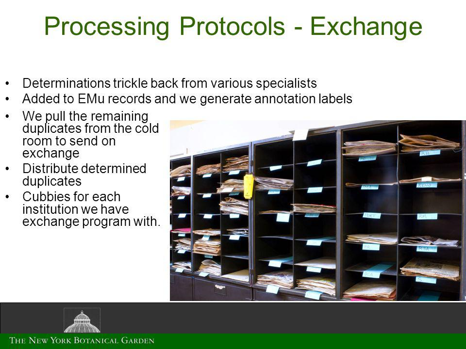 Processing Protocols - Exchange We pull the remaining duplicates from the cold room to send on exchange Distribute determined duplicates Cubbies for each institution we have exchange program with.