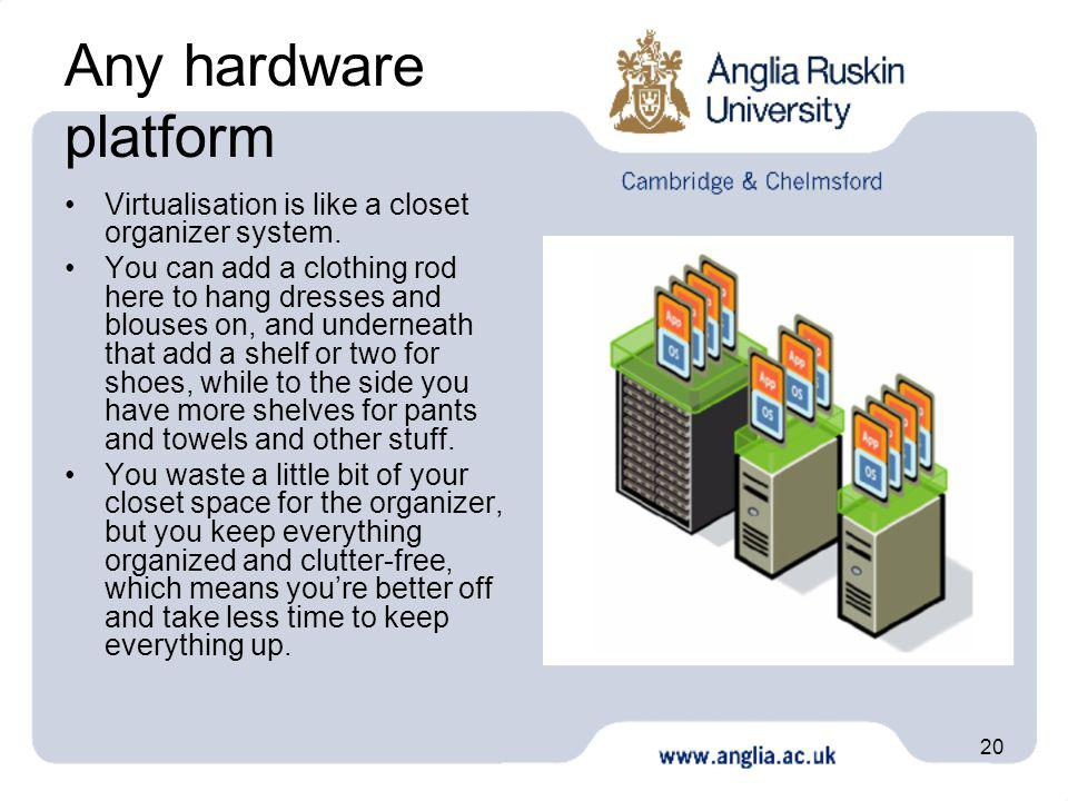20 Any hardware platform Virtualisation is like a closet organizer system. You can add a clothing rod here to hang dresses and blouses on, and underne
