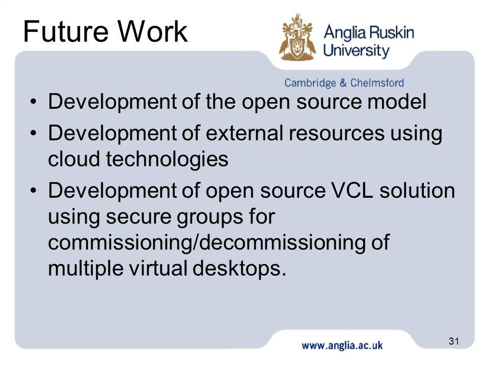 31 Future Work Development of the open source model Development of external resources using cloud technologies Development of open source VCL solution using secure groups for commissioning/decommissioning of multiple virtual desktops.