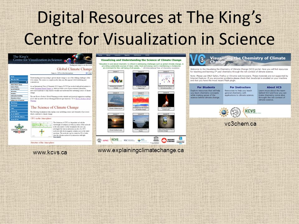 Digital Resources at The Kings Centre for Visualization in Science www.kcvs.ca www.explainingclimatechange.ca vc3chem.ca
