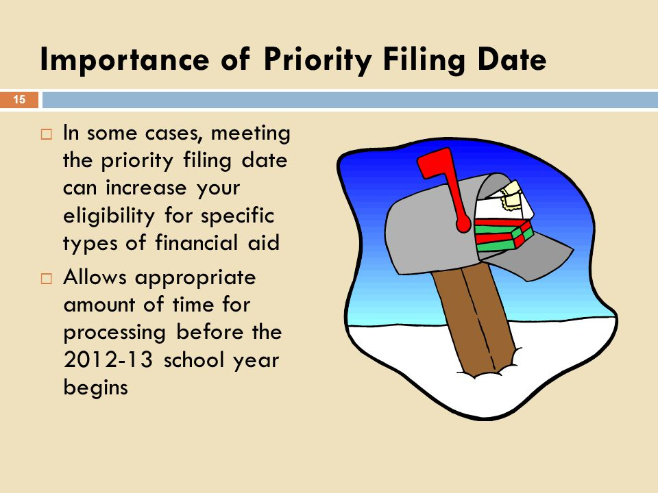 Importance of Priority Filing Date In some cases, meeting the priority filing date can increase your eligibility for specific types of financial aid A