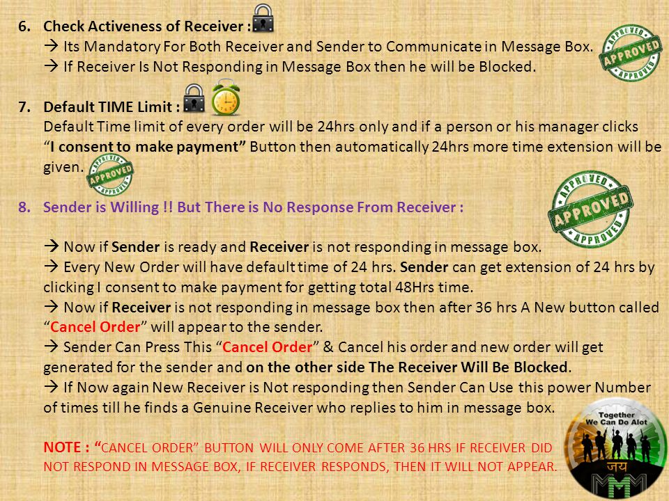 6.Check Activeness of Receiver : Its Mandatory For Both Receiver and Sender to Communicate in Message Box.