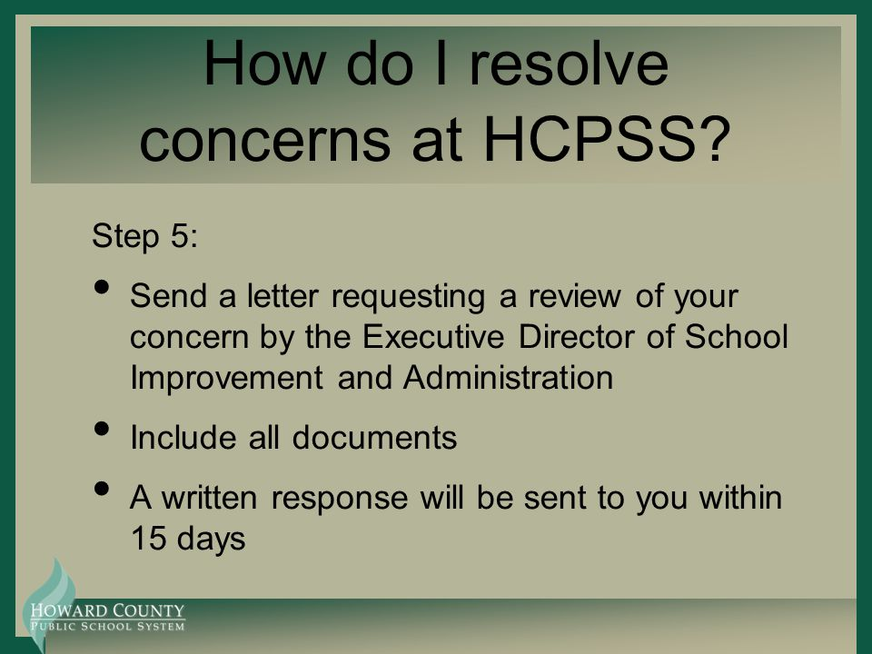 How do I resolve concerns at HCPSS.