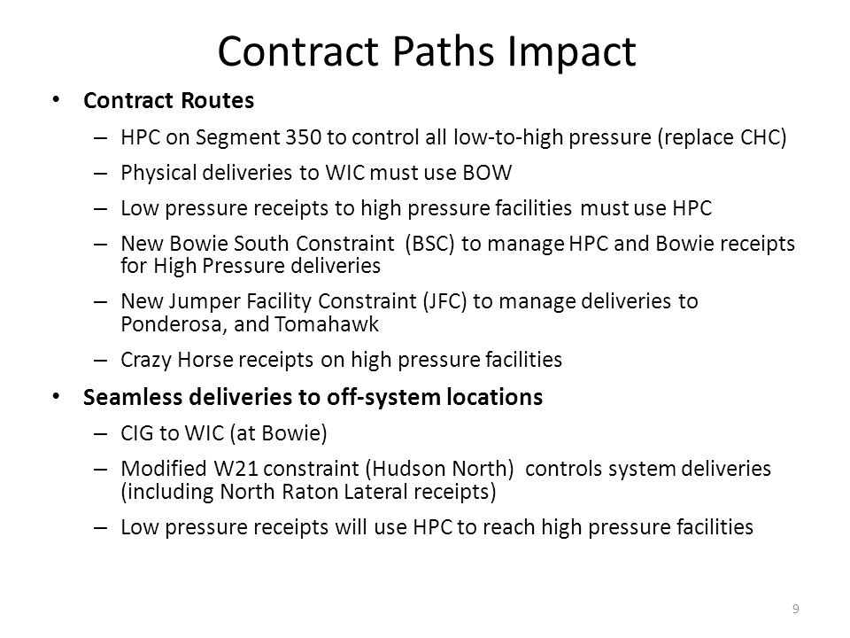Contract Paths Impact Contract Routes – HPC on Segment 350 to control all low-to-high pressure (replace CHC) – Physical deliveries to WIC must use BOW