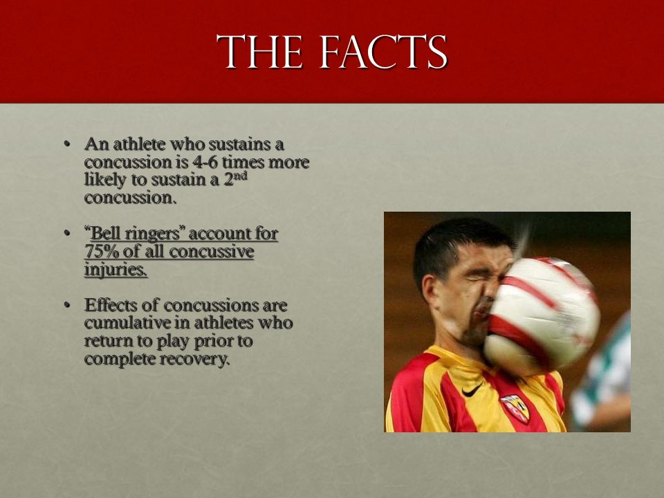 The Facts An athlete who sustains a concussion is 4-6 times more likely to sustain a 2 nd concussion.An athlete who sustains a concussion is 4-6 times more likely to sustain a 2 nd concussion.