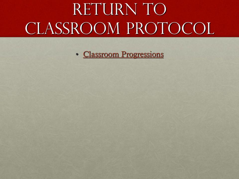 Return To Classroom Protocol Classroom ProgressionsClassroom ProgressionsClassroom ProgressionsClassroom Progressions