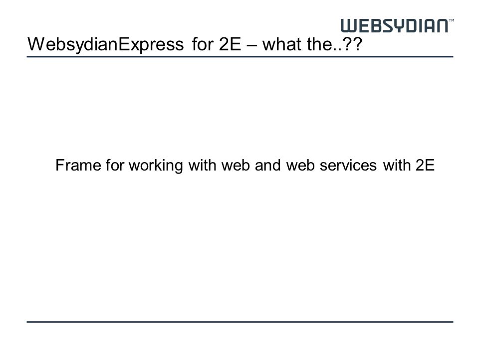 2ESecurity User managment Session control Administration Transport layer MenuLogin Design Authorization system What the user doesnt see What the user sees WebsydianExpress for 2E