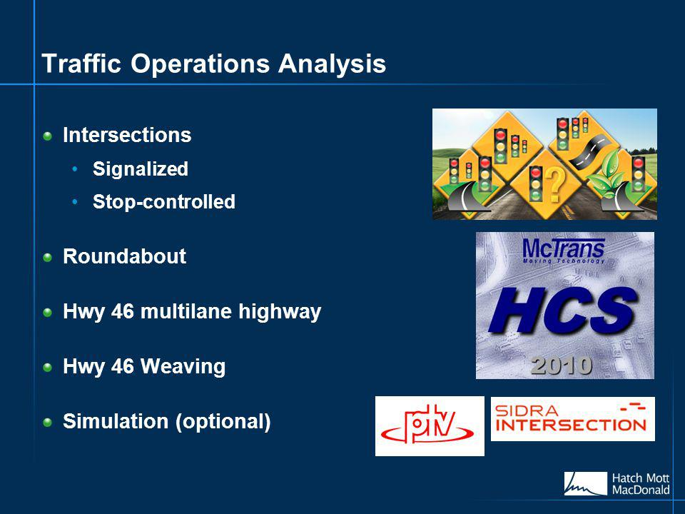 Traffic Operations Analysis Intersections Signalized Stop-controlled Roundabout Hwy 46 multilane highway Hwy 46 Weaving Simulation (optional)