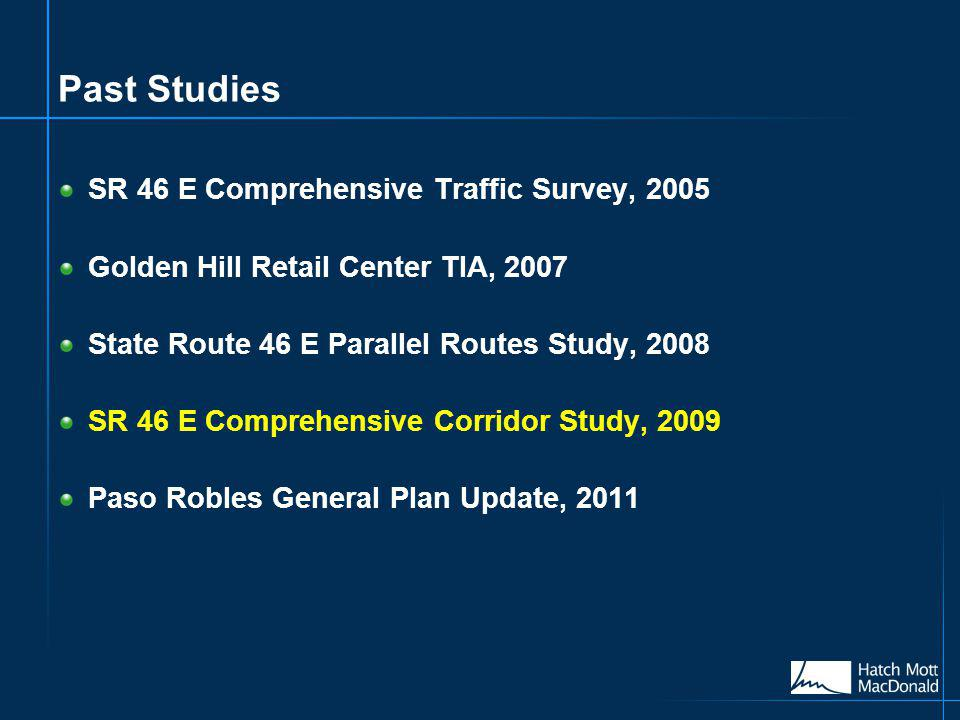 Past Studies SR 46 E Comprehensive Traffic Survey, 2005 Golden Hill Retail Center TIA, 2007 State Route 46 E Parallel Routes Study, 2008 SR 46 E Comprehensive Corridor Study, 2009 Paso Robles General Plan Update, 2011