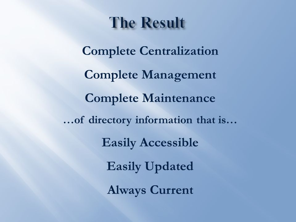 Complete Centralization Complete Management Complete Maintenance …of directory information that is… Easily Accessible Easily Updated Always Current