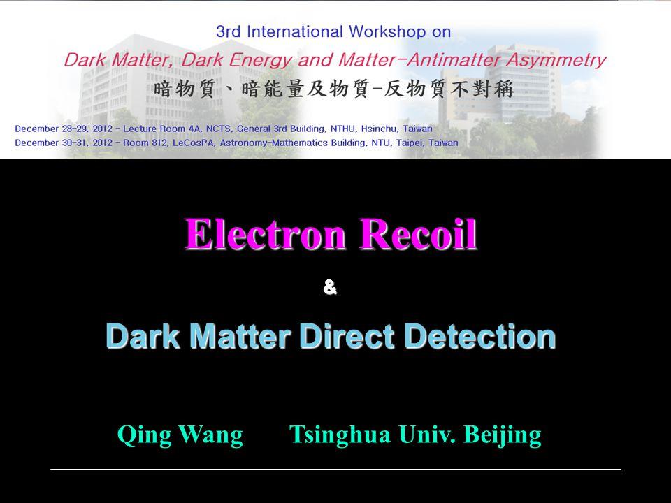 Electron Recoil & Dark Matter Direct Detection Qing Wang Tsinghua Univ. Beijing