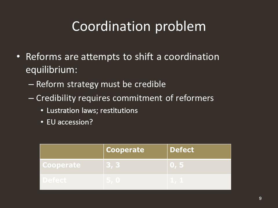 Coordination problem Reforms are attempts to shift a coordination equilibrium: – Reform strategy must be credible – Credibility requires commitment of
