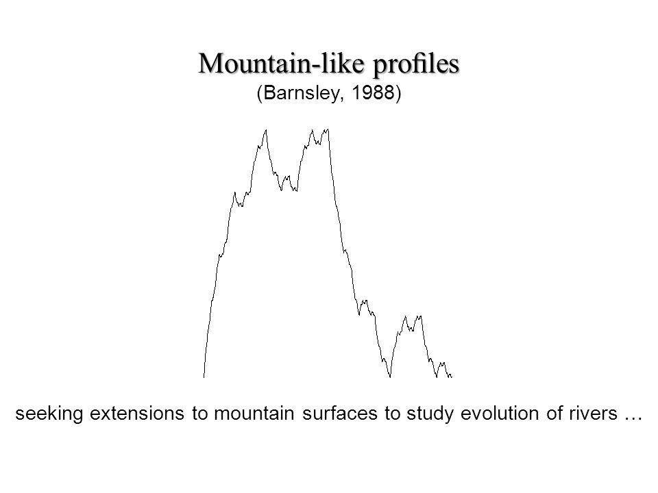 Mountain-like proles Mountain-like proles (Barnsley, 1988) seeking extensions to mountain surfaces to study evolution of rivers …