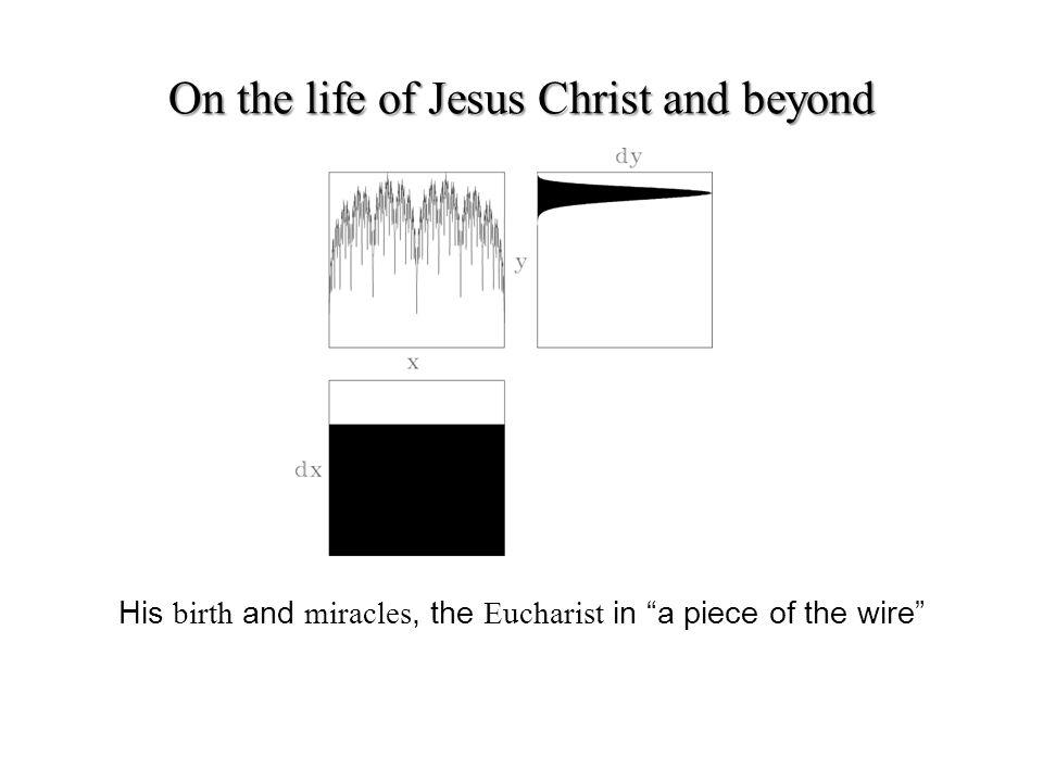 His birth and miracles, the Eucharist in a piece of the wire