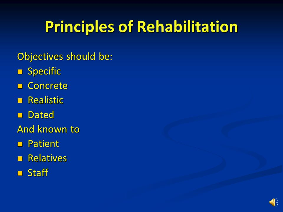 Rehabilitating elderly people Multiple pathologies - increases complexity Multiple pathologies - increases complexity Mental impairment - learning difficulties, inability to grasp new concepts or ways of doing things Mental impairment - learning difficulties, inability to grasp new concepts or ways of doing things Personality - a key factor in determining outcome.