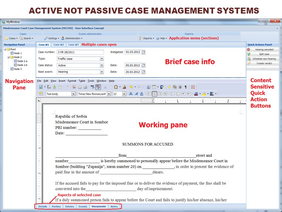 ACTIVE NOT PASSIVE CASE MANAGEMENT SYSTEMS