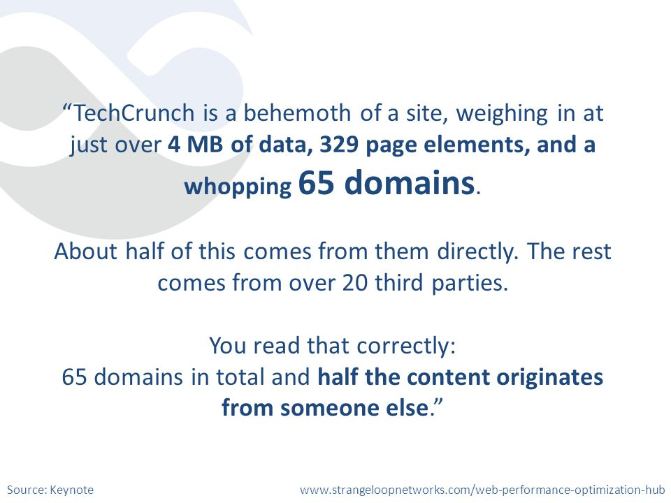 TechCrunch is a behemoth of a site, weighing in at just over 4 MB of data, 329 page elements, and a whopping 65 domains. About half of this comes from