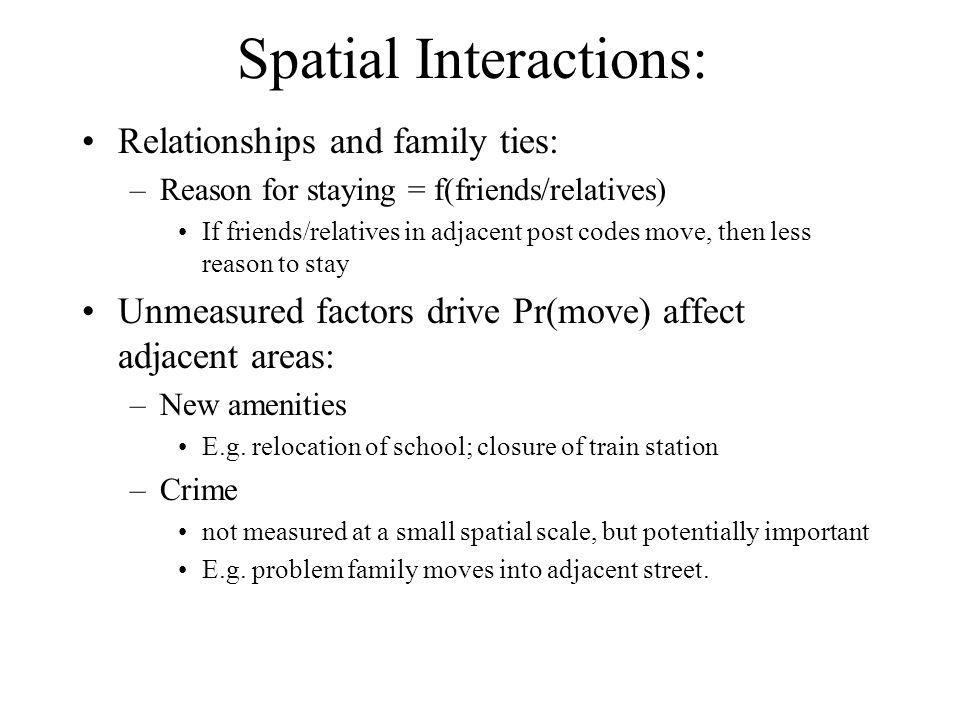 Spatial Interactions: Relationships and family ties: –Reason for staying = f(friends/relatives) If friends/relatives in adjacent post codes move, then less reason to stay Unmeasured factors drive Pr(move) affect adjacent areas: –New amenities E.g.