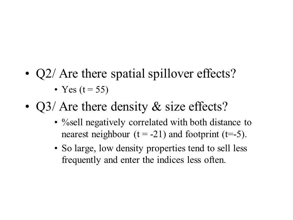Q2/ Are there spatial spillover effects. Yes (t = 55) Q3/ Are there density & size effects.