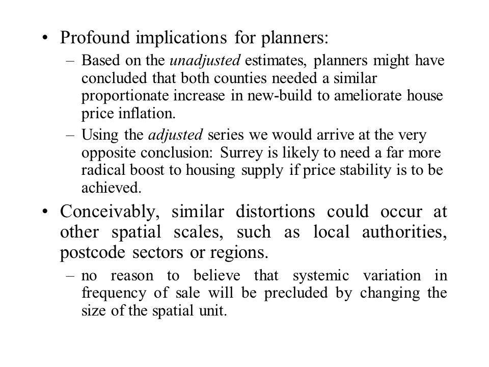 Profound implications for planners: –Based on the unadjusted estimates, planners might have concluded that both counties needed a similar proportionate increase in new-build to ameliorate house price inflation.