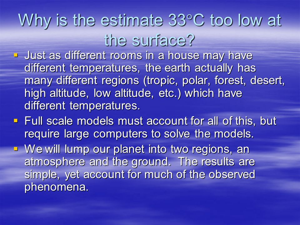 Why is the estimate 33 C too low at the surface.