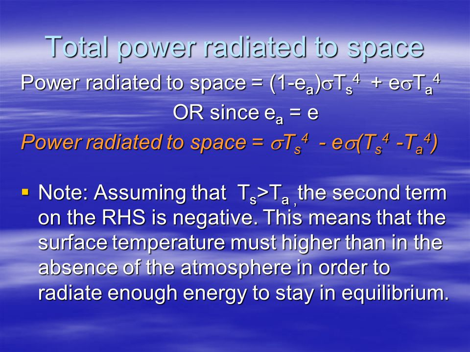 Total power radiated to space Power radiated to space = (1-e a ) T s 4 + e T a 4 OR since e a = e Power radiated to space = T s 4 - e (T s 4 -T a 4 ) Note: Assuming that T s >T a, the second term on the RHS is negative.