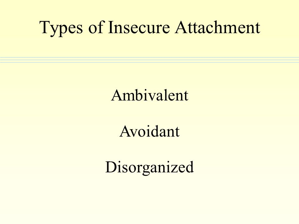 Types of Insecure Attachment Ambivalent Avoidant Disorganized