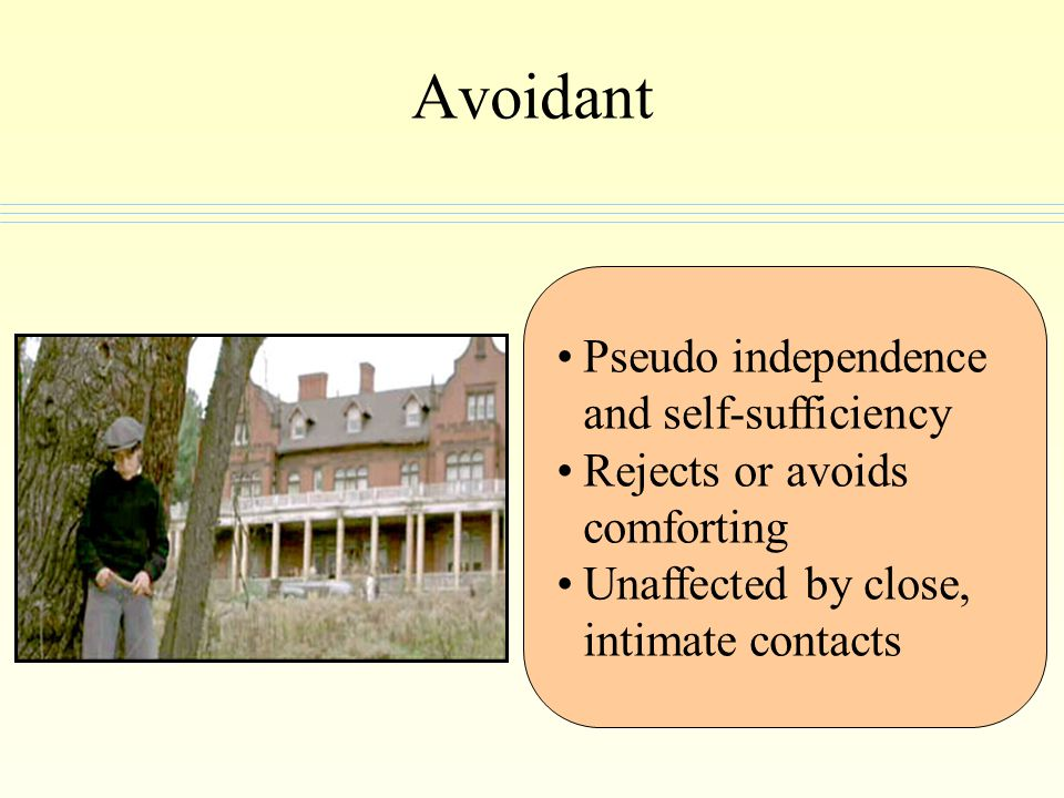 Avoidant Pseudo independence and self-sufficiency Rejects or avoids comforting Unaffected by close, intimate contacts