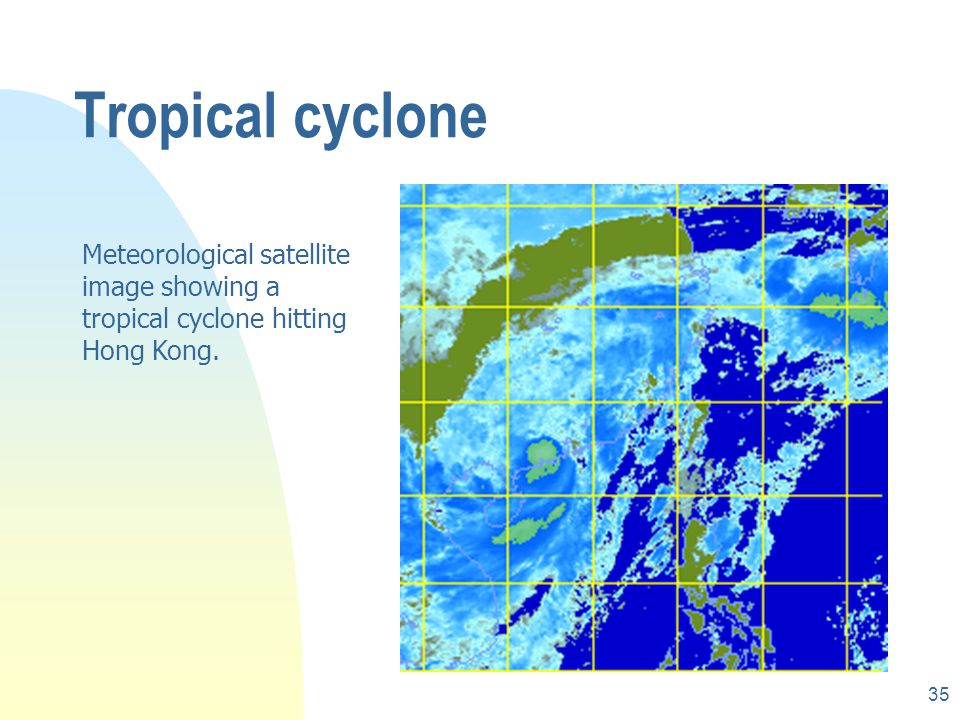 34 Weather forecasting rCloud imagery is now the default part for TV weather report rTropical cyclone (typhoon) warning rSandstorm forecasting