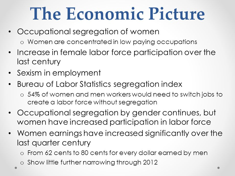 The Economic Picture Occupational segregation of women o Women are concentrated in low paying occupations Increase in female labor force participation