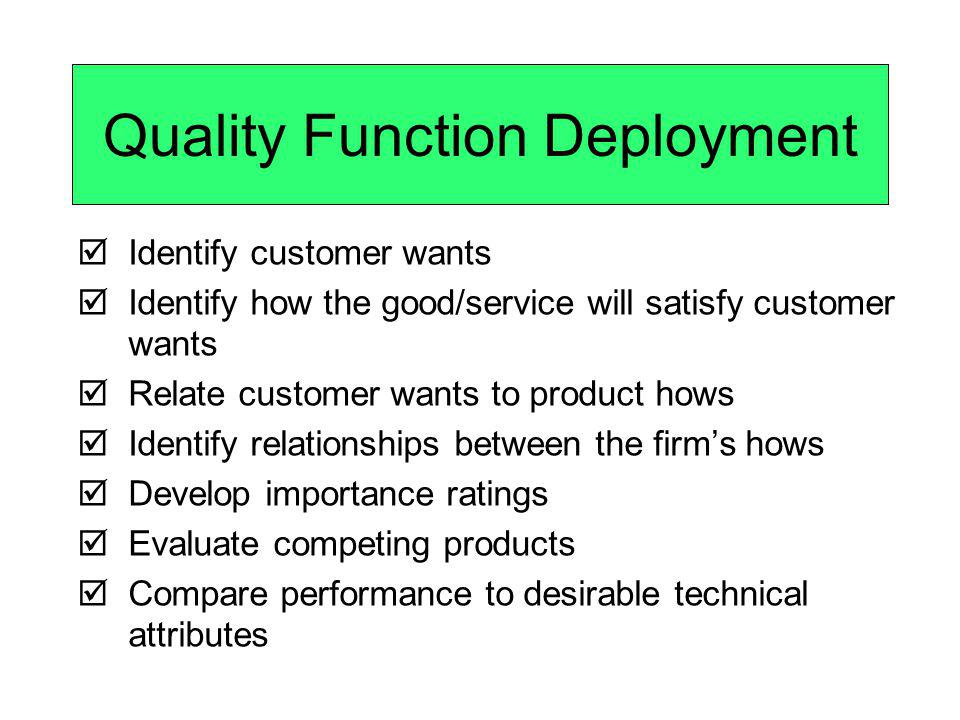 Quality Function Deployment Identify customer wants Identify how the good/service will satisfy customer wants Relate customer wants to product hows Id
