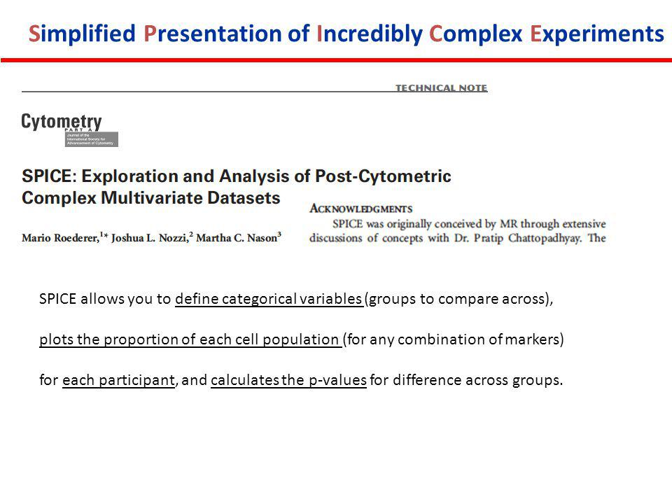 Simplified Presentation of Incredibly Complex Experiments SPICE allows you to define categorical variables (groups to compare across), plots the proportion of each cell population (for any combination of markers) for each participant, and calculates the p-values for difference across groups.