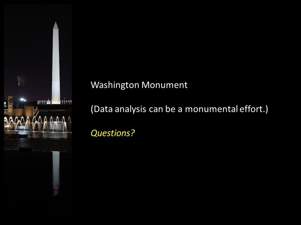 Washington Monument (Data analysis can be a monumental effort.) Questions