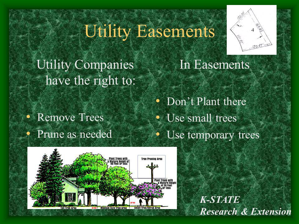 K-STATE Research & Extension Utility Easements Utility Companies have the right to: Remove Trees Prune as needed In Easements Dont Plant there Use sma