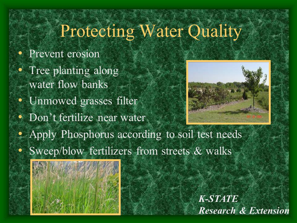 K-STATE Research & Extension Protecting Water Quality Prevent erosion Tree planting along water flow banks Unmowed grasses filter Dont fertilize near