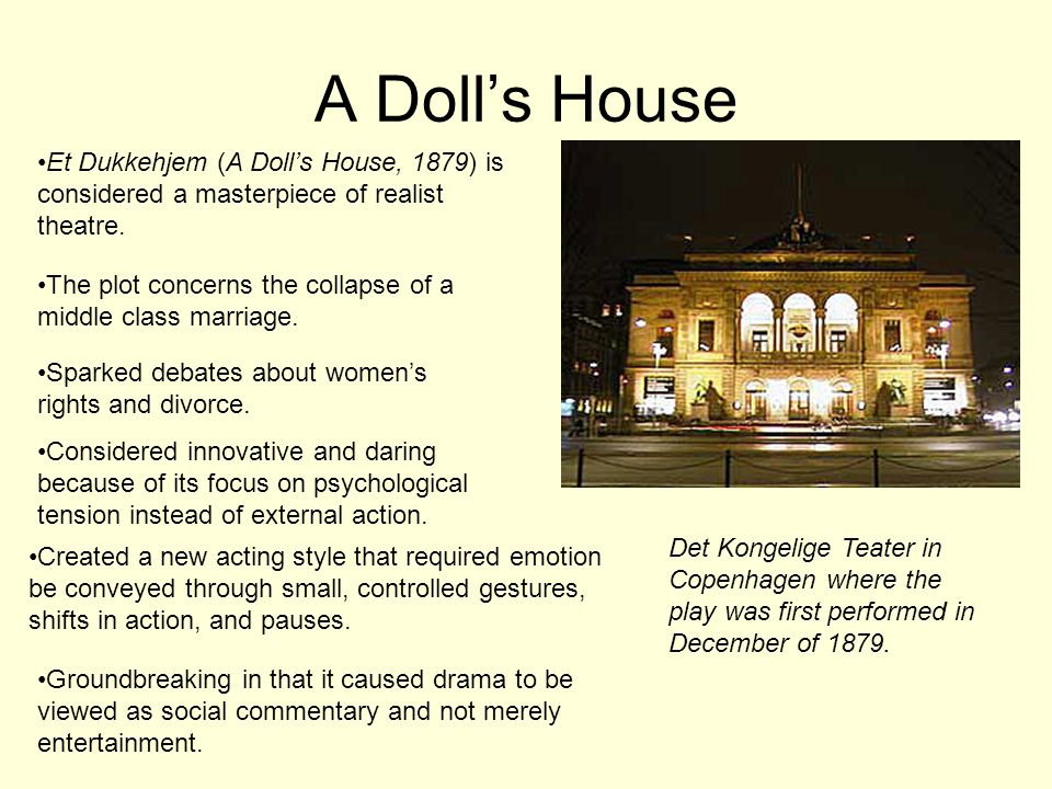 A Dolls House Et Dukkehjem (A Dolls House, 1879) is considered a masterpiece of realist theatre.