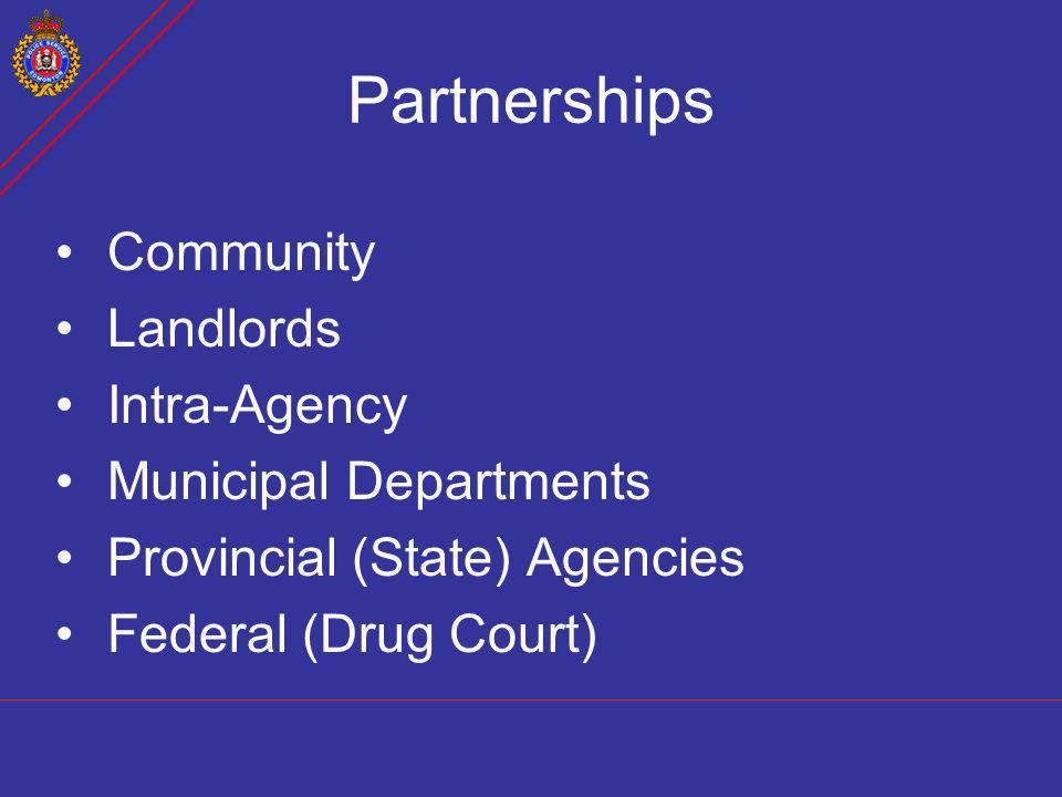 Partnerships Community Landlords Intra-Agency Municipal Departments Provincial (State) Agencies Federal (Drug Court)