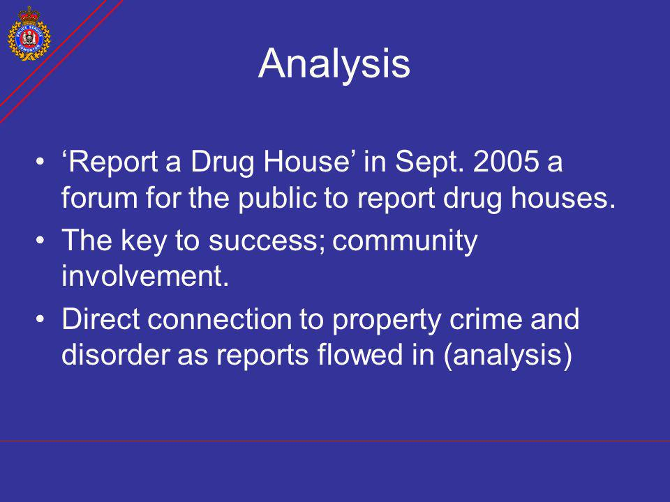 Analysis Report a Drug House in Sept. 2005 a forum for the public to report drug houses. The key to success; community involvement. Direct connection