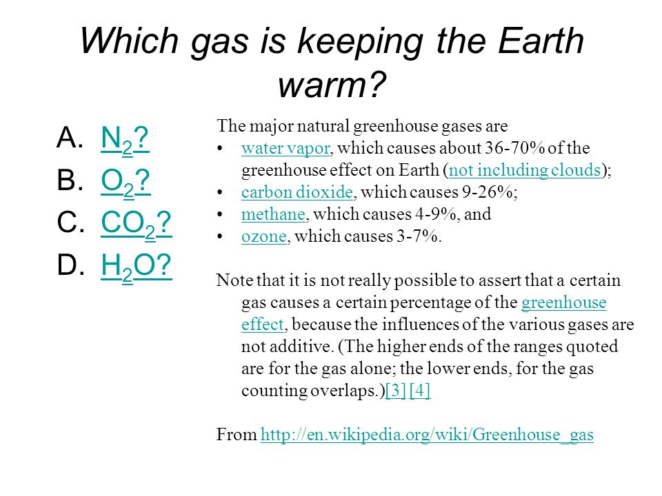 Which gas is keeping the Earth warm? A.N 2 ?N 2 ? B.O 2 ?O 2 ? C.CO 2 ?CO 2 ? D.H 2 O?H 2 O? The major natural greenhouse gases are water vapor, which
