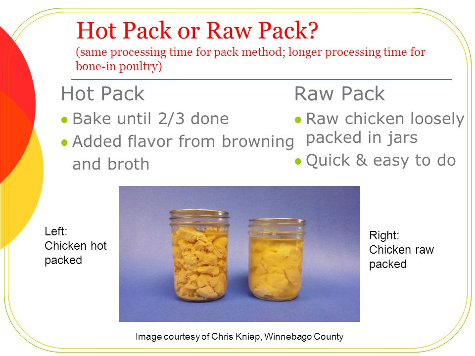 Hot Pack or Raw Pack.