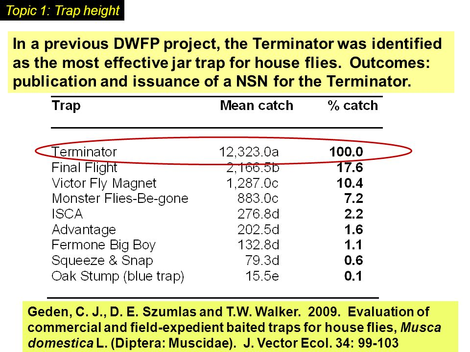 In a previous DWFP project, the Terminator was identified as the most effective jar trap for house flies.