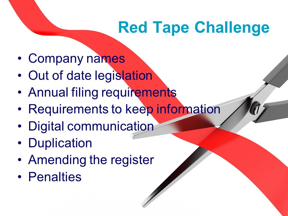 Company names Out of date legislation Annual filing requirements Requirements to keep information Digital communication Duplication Amending the register Penalties Red Tape Challenge