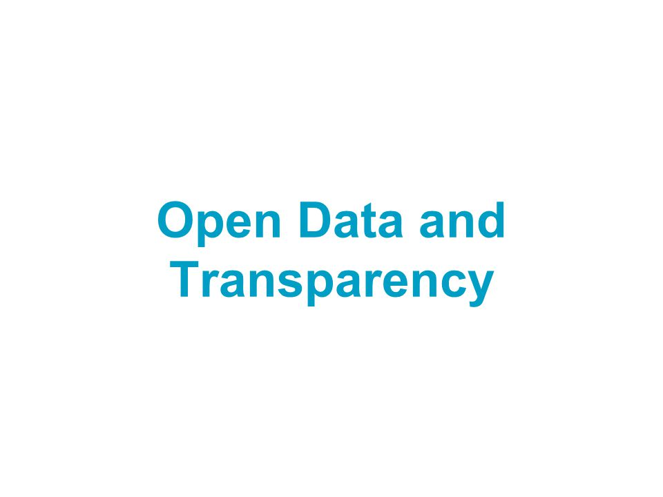 Open Data and Transparency