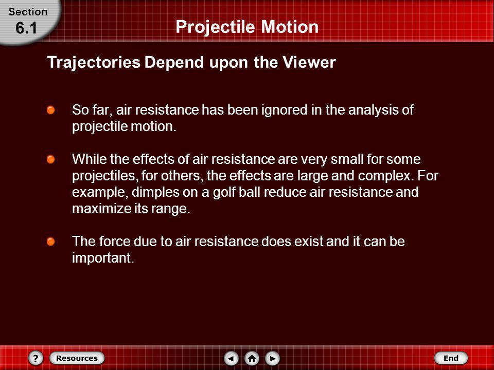 Projectile Motion The path of the projectile, or its trajectory, depends upon who is viewing it. Suppose you toss a ball up and catch it while riding
