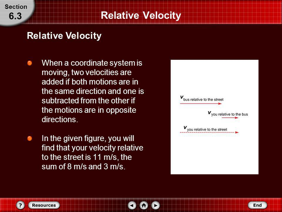Relative Velocity When you are standing still, your velocity relative to the road is also 8 m/s, but your velocity relative to the bus is zero. A vect