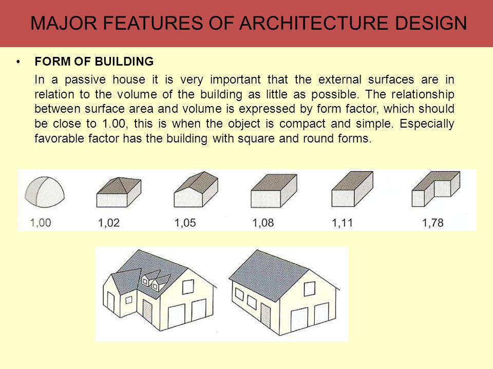 MAJOR FEATURES OF ARCHITECTURE DESIGN FORM OF BUILDING In a passive house it is very important that the external surfaces are in relation to the volume of the building as little as possible.